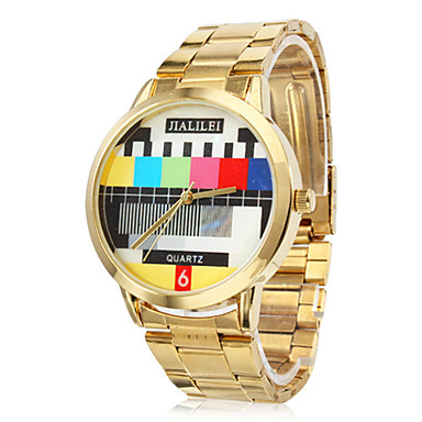Unisex TV Pattern Gold Steel Quartz Analog Wrist Watch Cool Watch Unique Watch