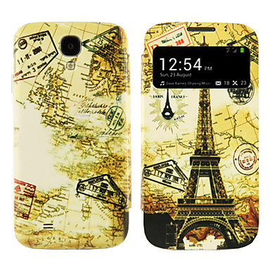 Solid Color PU Leather S-View Flip Cover Case with Stand for Samsung S4 I9500
