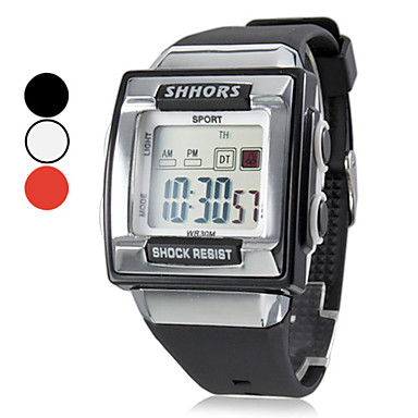 Hombre Reloj Deportivo Reloj digital Digital LCD Calendario Cronógrafo alarma Banda Negro Blanco Rosa Blanco Negro Rosa