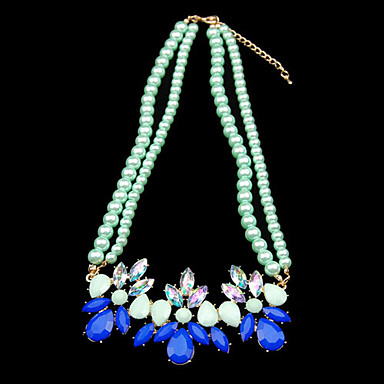 Candy Color Green Flower Pearl Pendant Necklace