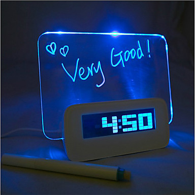 4 USB portu hub ile mesaj panosu mavi ışık, dijital çalar saat (usb)