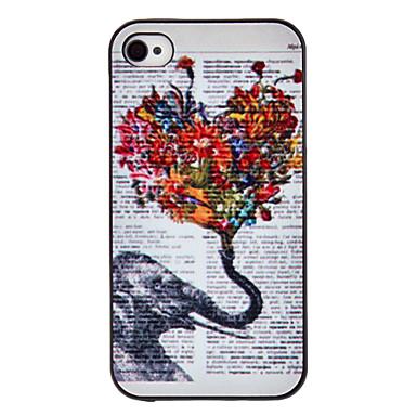 iPhone 4/4S için Fil ve Çiçekler Renkli Çizim Desenli Siyah Çerçeveli PC Sert Kılıf