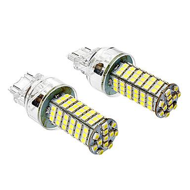 T25 5W 6000-6500K 400LM 102x3528SMD White Light Bulb para carro (DC 12V, 1-Pair) LED