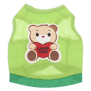 Cachorro Camiseta Roupas para Cães Desenho Animado Verde Algodão Ocasiões Especiais Para animais de estimação