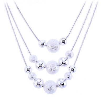 Pentru femei Coliere Coliere Layered Colier lung, Plutire Minge femei Modă bunică Plastic Argintiu Aliaj Alb Coliere Bijuterii Pentru Petrecere Zilnic