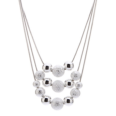 Z&X®  925 Sterling Silver Plated New Light Arenaceous Bead 3 Rope Necklace