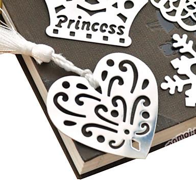 preiswerte Bürobedarf-Hohl-Out Heart Shaped Tassel Metall Bookmark