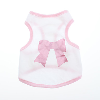 Dog Shirt / T-Shirt Dog Clothes Bowknot Pink Cotton Costume For Pets