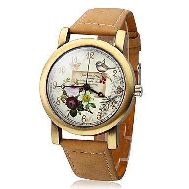 Mulheres Relógio de Moda Quartzo Quartzo Japonês Relógio Casual Couro Banda Cáqui Khaki