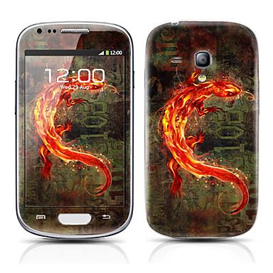 Samsung Galaxy S3 Mini I8190 için altın Canavar Desen Ön ve Arka Koruyucu Etiketler