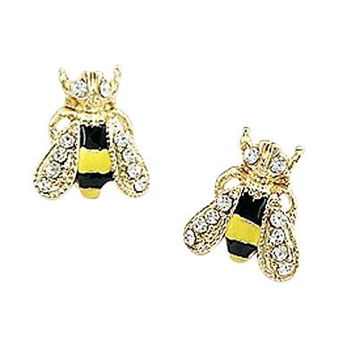 Kadın's Kulak Piercingleri Vidali Küpeler Lüks sevimli Stil Moda Yapay Elmas Altın Kaplama Simüle Elmas Emaye alaşım Hayvan Mücevher Sarı