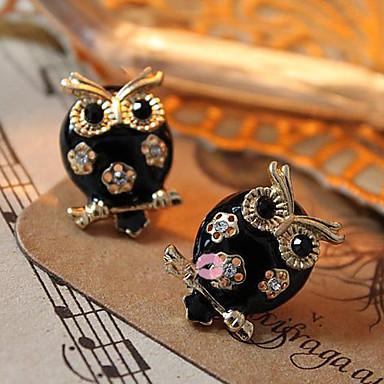Stud Earrings Alloy Simulated Diamond Animal Shape Owl Jewelry Daily