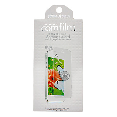 COMMA HD Anti-fingerprints Screen Protector with Blue Microfiber Cloth and Dust Absorption Sticker for iPhone 5