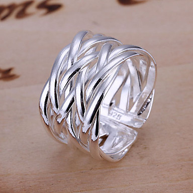 Women's Silver Plated Alloy Band Ring - Jewelry Unique Design Plaited Open Adjustable Silver Ring For Wedding Party Gift Daily