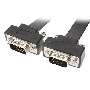 VGA Male to Male Retractable Connection Cable Flat Type Black (1.8M)