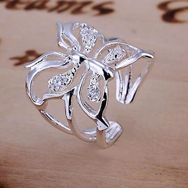Kadın Nişan yüzüğü Lüks Ayarlanabilir Açık Kristal Kelebek Hayvan Mücevher Düğün Günlük