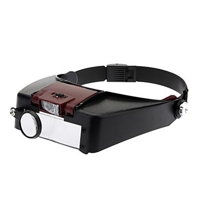 LED 빛을 가진 실제 수지 재질 머리띠 돋보기 (81007-A) - 블랙 & 레드