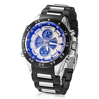 Men's Multi-Function Analog-Digital Dial Plastic Band Quartz LCD Wrist Watch (Assorted Colors)