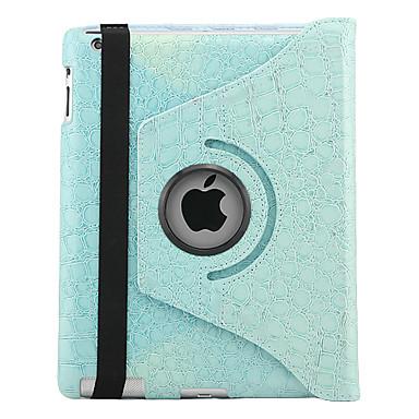 Giratorio del cocodrilo pu estuche de cuero con soporte para iPad3/iPad4