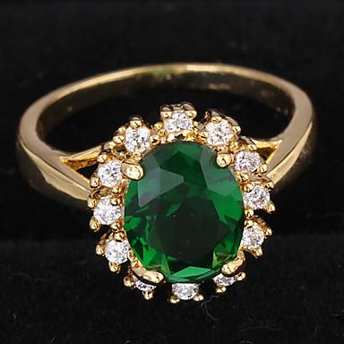 Kadın's Küme Bildiri Yüzüğü / Nişan yüzüğü - Zirkon, Altın Kaplama Aşk Lüks 7 / 8 Koyu Yeşil Uyumluluk Düğün / Parti / Hediye