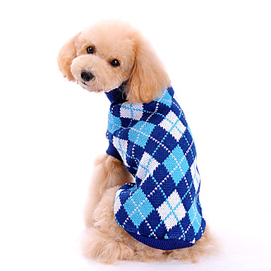 cheap Dog Clothing & Accessories-Dog Sweater Dog Clothes Plaid / Check Blue Woolen Costume For Spring &  Fall Winter Men's Women's Classic Fashion