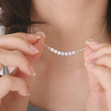 Dame Krystall Anheng Halskjede Flytende Billig damer Mote Dubai Small Krystall Legering Sølv Halskjeder Smykker Til Fest Daglig Avslappet