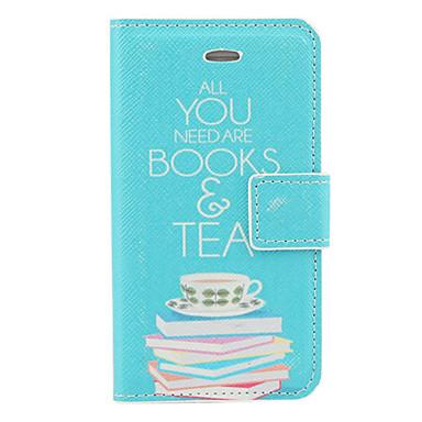 Livro e Chás Padrão PU Caso Full Body com Slot para cartão e suporte para iPhone 4/4S (azul)