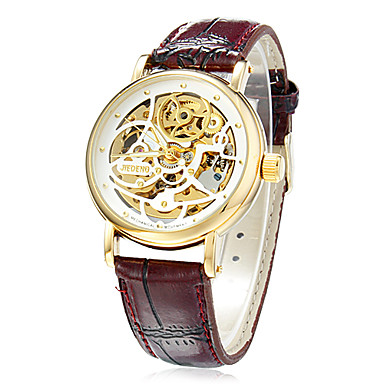 Men's Skeleton Watch Mechanical Watch Hollow Engraving Automatic self-winding Band Black Brown