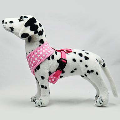 Cachorro Arreios Retratável Poá Tecido Preto Verde Azul Rosa claro