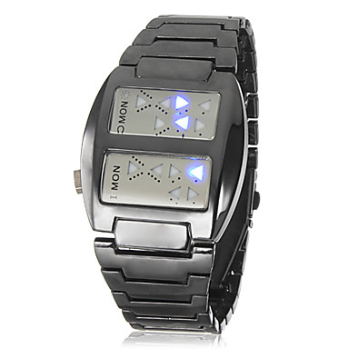 Men's Space Age Blue LED Digital Black Steel Band Wrist Watch