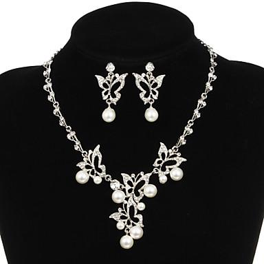 Takı Seti Kadın's Yıldönümü / Düğün / Nişan / Doğumgünü / Hediye / Parti / Özel Anlar Mücevher Setleri alaşım İmitasyon İnci / Yapay Elmas