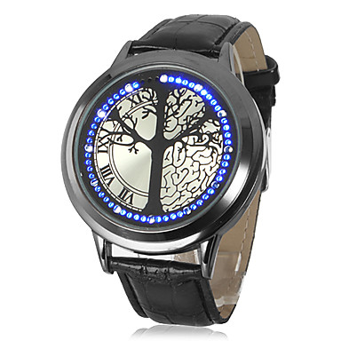 Touch Screen-armbandsur med Blå/Vit LED och Läderband