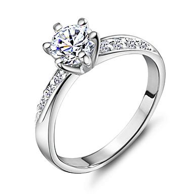 Pentru femei Band Ring simulat Articole de ceramică Placat cu platină 18K Aur Inele la Modă Bijuterii Argintiu Pentru Nuntă Petrecere Zilnic Casual Sport 5 / 6 / 7 / 8 / 9 / Ștras / Aliaj