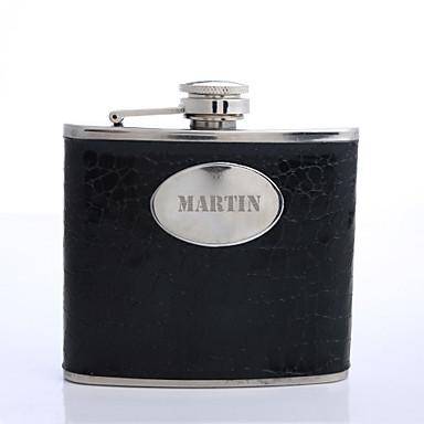 Kişiselleştirilmiş Babalar Günü hediyesi siyah 5oz pu deri harfler şişeyi