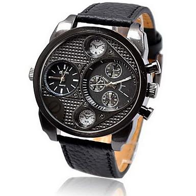 Men'S Military Multi Function Leather Band Quatz Wrist Watch Cool Watch Unique Watch