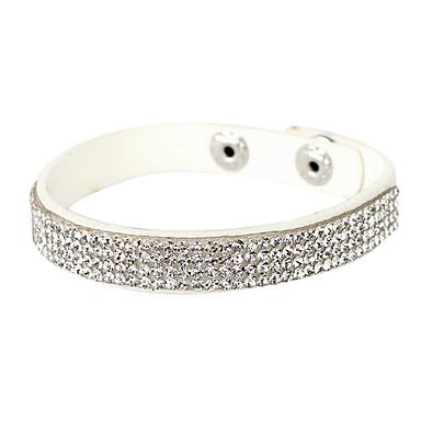 Femme Cristal Bracelets de tennis - Cristal, Cuir, Imitation Diamant Original, Mode Bracelet Argent Pour Regalos de Navidad Soirée Quotidien