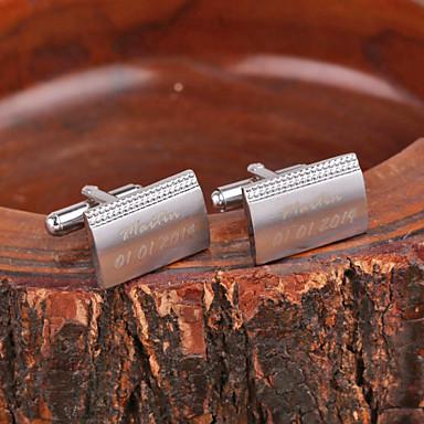 Rhinestone ile Kişiye Özel Hediye Dikdörtgen Gümüş Metal İşlemeli Kol Düğmesi
