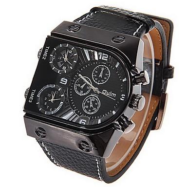 זול שעוני גברים-Oulm בגדי ריקוד גברים שעונים צבאיים שעון יד קווארץ קוורץ יפני עור שחור אזור זמן כפול אנלוגי קסם - שחור שנתיים חיי סוללה / סוקסי SR626SW