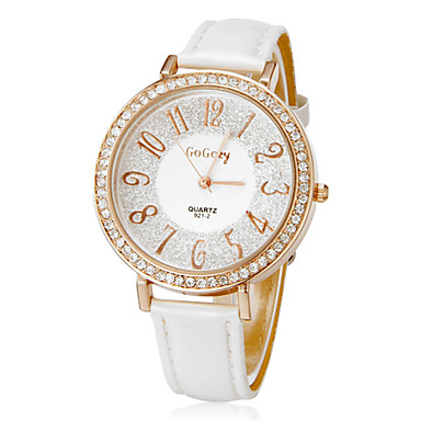 Women's Diamond Round Dial PU Band Quartz Analog Wrist Watch (Assorted Colors)