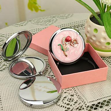 Kişiye Hediye Çiçeği Style Pembe Krom Kompakt Ayna