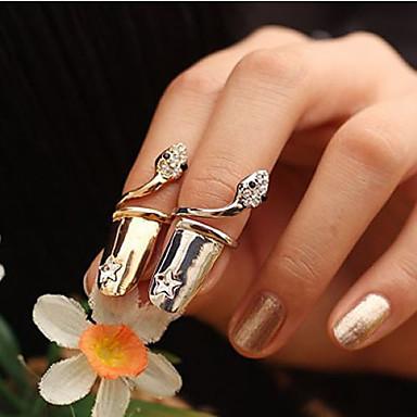 Maxi anel Cristal Prata Chapeada Chapeado Dourado imitação de diamante Cobra Prata Dourado Jóias Festa Diário Casual 1peça