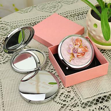 Kişiye Hediye Çiçek Style Pembe Krom Kompakt Ayna