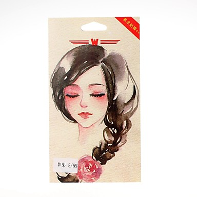 Sketch Girl Pattern Front and Back Leather Screen Protector Stickers for iPhone 5/5S