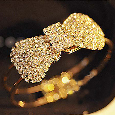 Women's Crystal Rhinestone Bangles - Open Adjustable Simple Style Bowknot Bracelet For Christmas Gifts Party Daily