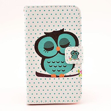 Sleeping Owl Pattern PU Leather Hard Case with Magnetic Snap and Card Slot for Samsung Galaxy S4 I9500