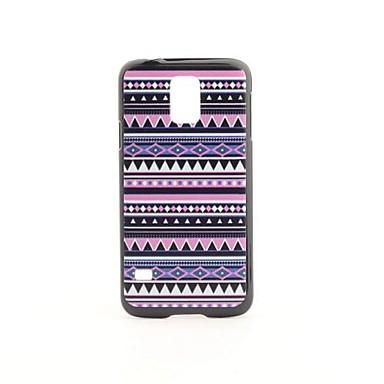 Samsung Galaxy i9600 S5 için Aztek Renkli Çizgili Desen PVC Geri Case