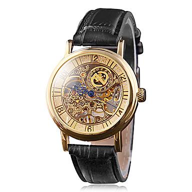 Men's Manual Mechanical Elegant Gold Dial Black PU Band Wrist Watch Cool Watch Unique Watch