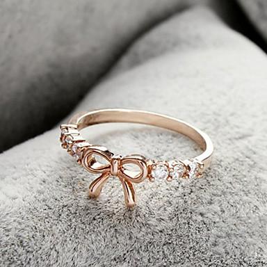 Mulheres doces do bowknot Limpar Anéis strass Banda (Gold, Silver) (1 Pc)
