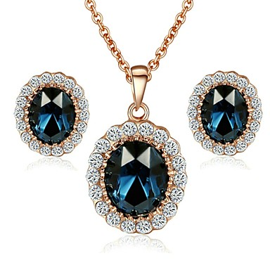 Women's Crystal / Gold Plated Jewelry Set Earrings / Necklace - Fashion Dark Blue / Red / Green For Wedding / Party / Daily
