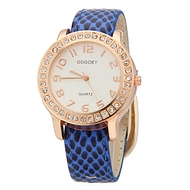 Women's  Crystal   Rose Gold Face Case Pu Band  Quartz Wrist Watch (Assorted Colors)